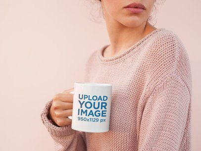 Coffee Mug Mockup Surrounded by Light Pink Tones 22444