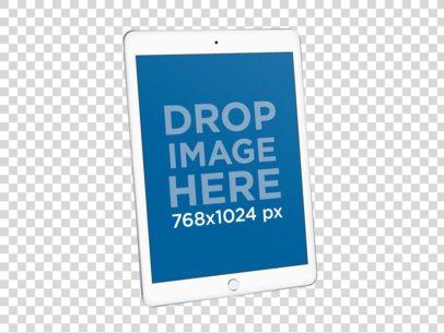 Silver iPad Mockup Against a Transparent Backdrop 22475