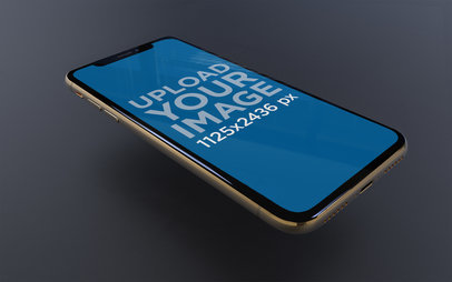 iPhone XS Mockup Floating on a Black Background 22589