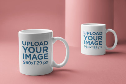 Mockup of Two Coffee Mugs Placed on a Minimal Background 22368