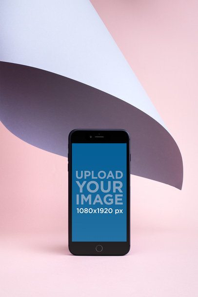 iPhone 8 Plus Mockup Surrounded by Pastel Tones 22189