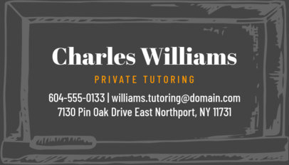 Private Tutor Business Card Creator 575b
