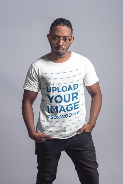 T-Shirt Mockup of a Serious Man Wearing Large Round Glasses 21056
