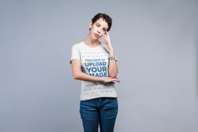 Crewneck Tee Mockup of a Female Model with a Tattoo Posing in Studio 21791