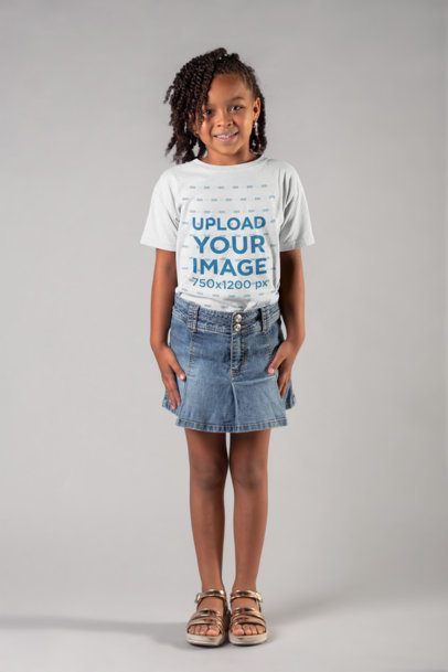 Round Neck Tee Mockup of a Pretty Little Girl Against a White Background 22031