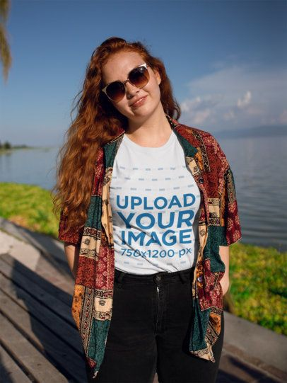 Roundneck Tee Mockup of a Woman in a Vintage Outfit Posing by a Lake 21934