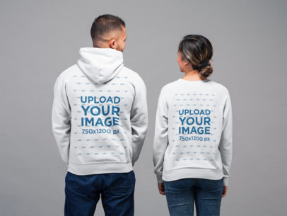 Back View Sweatshirt and Hoodie Mockup of a Woman and a Man Looking at Each Other  22353