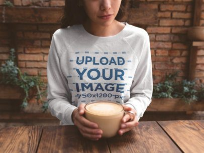 Sweatshirt Mockup of a Woman With a Latte in Her Hands 18136