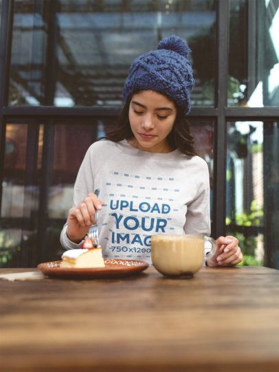 Sweatshirt Mockup of a Woman Eating Cake 18144