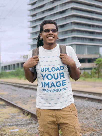 T-Shirt Mockup of a Man with Locs by a Railway 22054