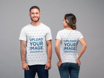 Back and Front View Tee Mockup Featuring a Man and a Woman in a Studio 22346