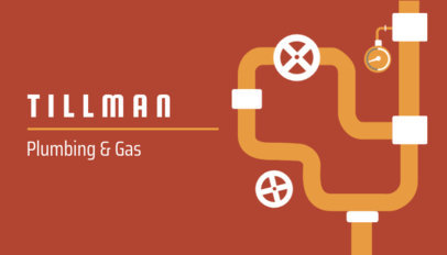 Business Card Template for Plumbing and Gas Services 654b
