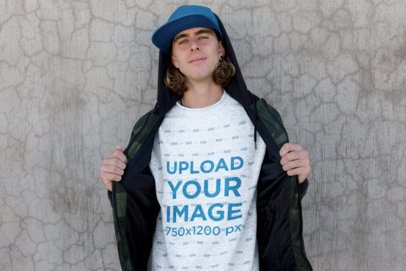 Crewneck Sweater Mockup Featuring a Skater Man Against a Concrete Wall 18166