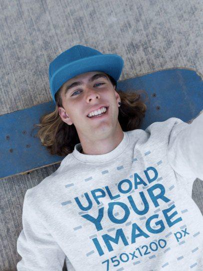 Sweatshirt Mockup of a Skater Man Taking a Selfie 18168