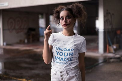 Round Neck Tee Mockup of a Girl with Halloween Clown Makeup 22918
