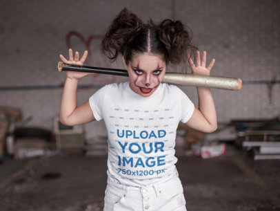 T-Shirt Mockup of a Woman with Halloween Makeup and a Baseball Bat on her Back 22921
