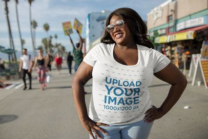 Plus Size T-Shirt Mockup of a Happy Woman in Venice Beach 18293