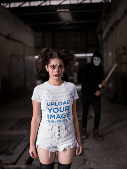 T-Shirt Mockup of a Woman with a Scared Expression 22927