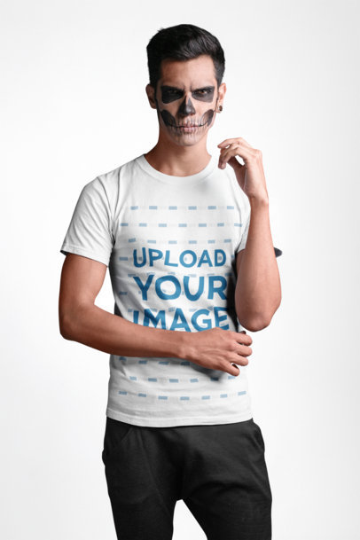 T-Shirt Mockup of a Man With Scary Halloween Makeup 22937