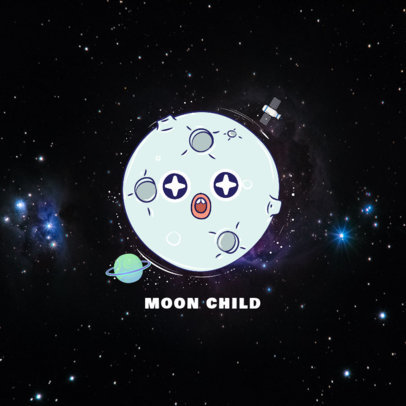 Funny Moon Phone Grip Template 678b