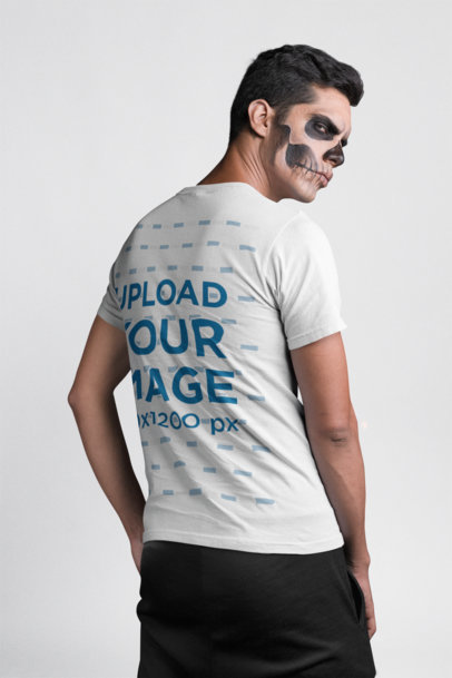 Back View T-Shirt Mockup of a Man with Halloween Skull Make-Up 22941