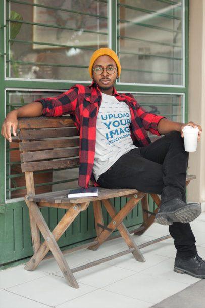 T-Shirt Mockup of a Man Wearing Casual Fall Clothing 21032