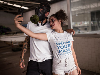 T-Shirt Mockup of a Girl Taking a Selfie with his Friend in Halloween Costumes 22934