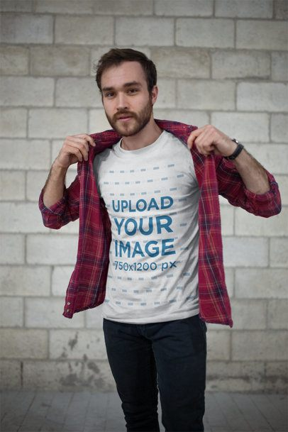 Mockup of a Bearded Man Wearing a T-Shirt Putting on a Plaid Shirt Over It 20054