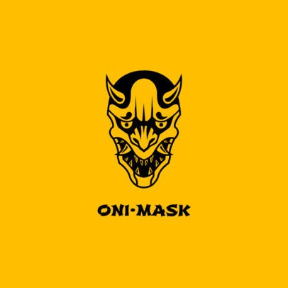 Phone Grip Template with an Oni Mask 687a