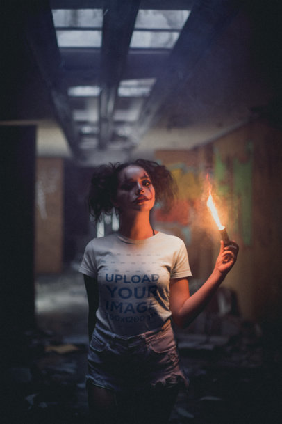 T-Shirt Mockup of a Girl with Halloween Makeup Holding a Flare 22931