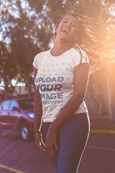 T-Shirt Mockup of a Happy Girl with Braids 18173