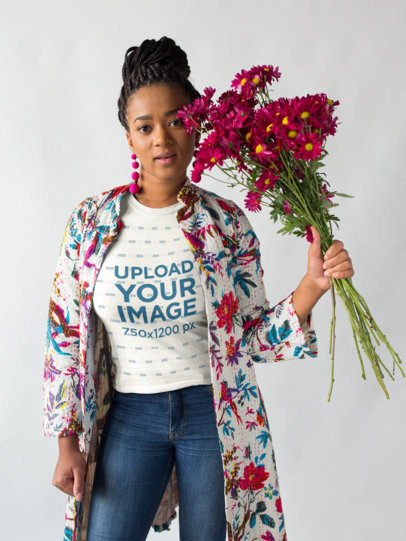 Round Neck Tee Mockup of a Woman Wearing a Long Floral Jacket 18393