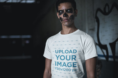 T-Shirt Mockup Featuring a Man Wearing Skeleton Makeup 23017