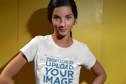 T-Shirt Mockup Featuring a Smirking Woman 18424