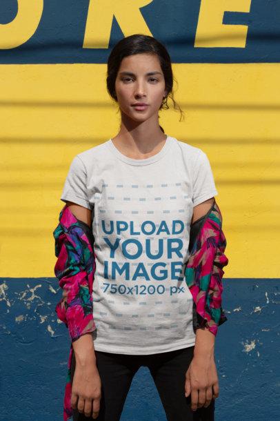 Mockup of a Girl Wearing a T-Shirt and a Printed Shirt 18428