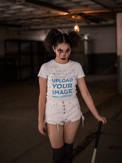 T-Shirt Mockup of a Girl with Spooky Halloween Clown Makeup 22923
