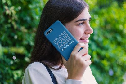 Mockup of a Girl Holding a Phone Case Against Her Ear 22881