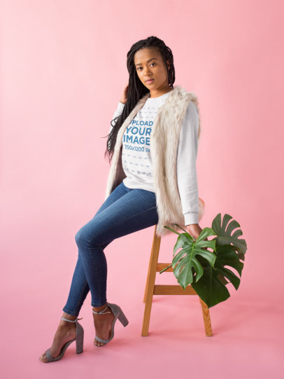 Mockup of a Woman with Box Braids Wearing a Crewneck Sweatshirt 18376