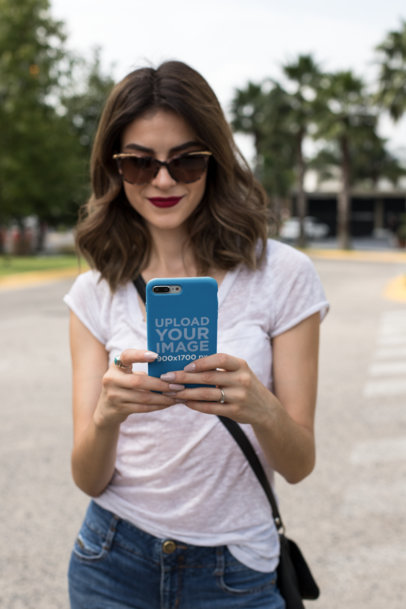 Mockup of a Phone Case and a Woman Wearing Trendy Sunglasses 22909