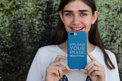 Mockup Featuring a Pretty Girl Showing an iPhone Case 22883