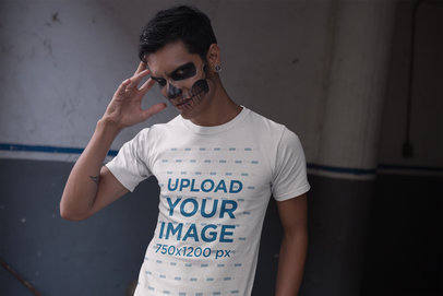 Tshirt Mockup of a Man with Scary Halloween Makeup 23030