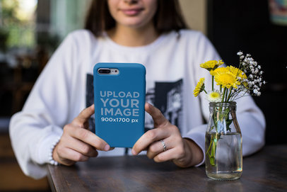 Phone Case Mockup Featuring a Girl Wearing a Silver Ring 22884