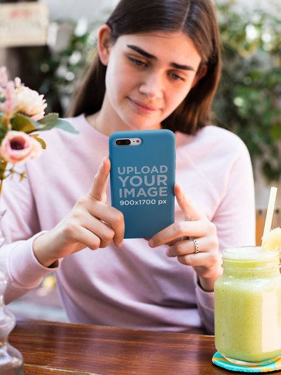 iPhone Case Mockup of a Girl in a Restaurant 22981