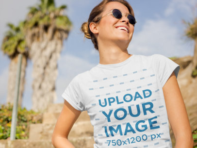 Mockup of a Woman Wearing a T-Shirt in a Sunny Day 22490