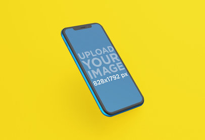 Mockup Featuring an Angled View of a Blue iPhone XR 23127