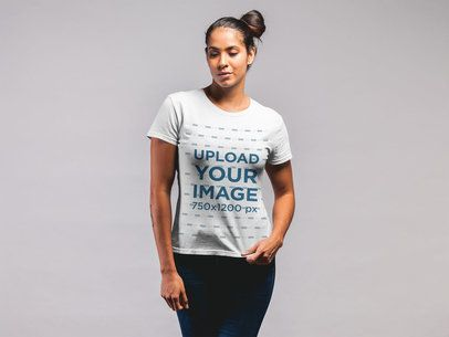 T-Shirt Mockup Featuring a Woman With a Messy Side Bun 21572