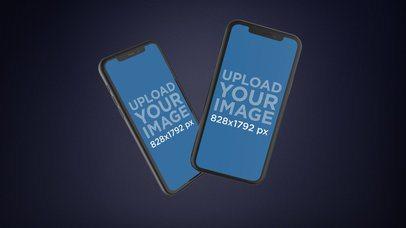 Mockup of Two Black iPhones XR Floating Together 23126