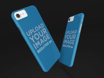 Mockup of Two iPhone Cases Floating 23153