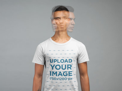 T-Shirt Mockup of a Man Moving His Head in a Studio 21571