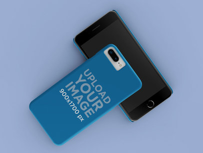 Render Mockup of an iPhone Case Lying over Another iPhone 23159